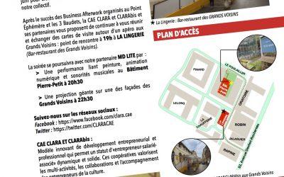 BUSINESS AFTERWORK DE LA CAE CLARA ET CLARAbis le 29 Juin à partir de 19h aux Grands Voisins
